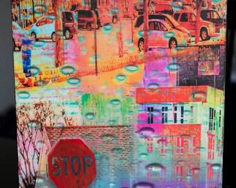 Urban Area collage on wood, photo art, St. Louis Par,k,  9x12 inch wood panel, Minnesota art, wall art, office art, contemporary, colorful