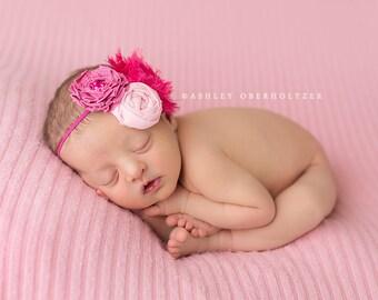 Back To The Fuchsia-  shades of pink and fuchsia chiffon flower, ava flower and rosette headband