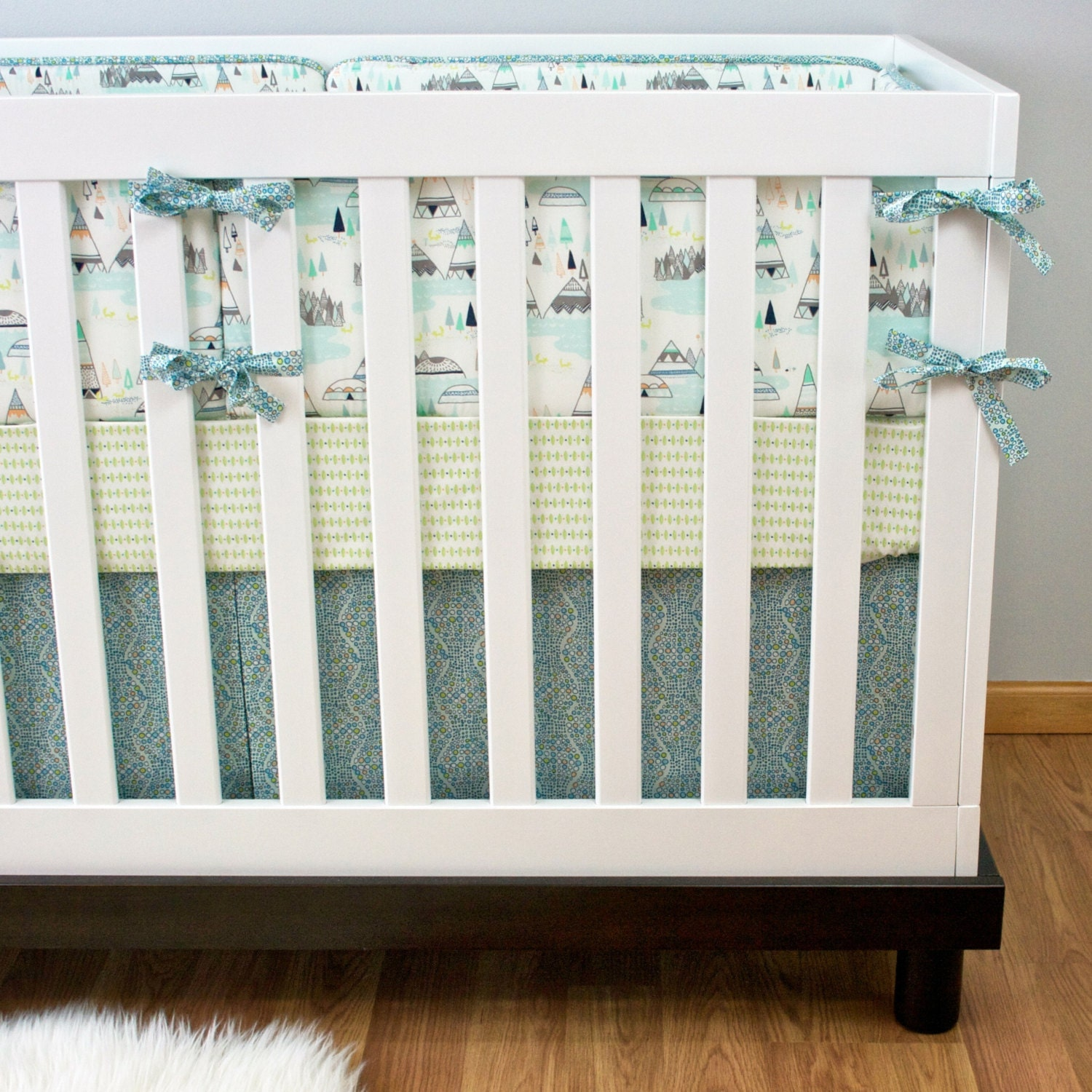 teepee crib bedding nursery bedding baby crib set aqua - 🔎zoom