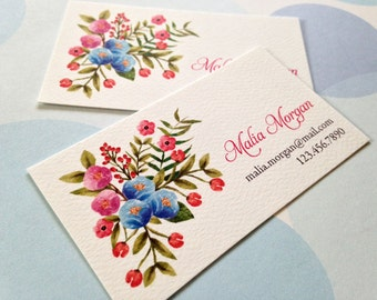 Floral Business Cards, Calling Cards - Set of 50