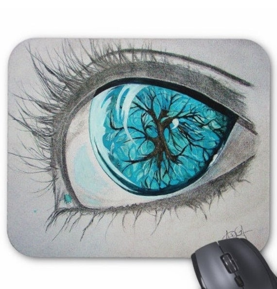 Mousepad Mouse Pad Fine Art Watching Winter Turquoise Eye Tree Reflection Mixed Media Drawing Painting Watercolor Modern Surreal