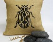 Burlap Pillow with Beetle Bug Block Print at Center and Hand Print Geometric Print at Back