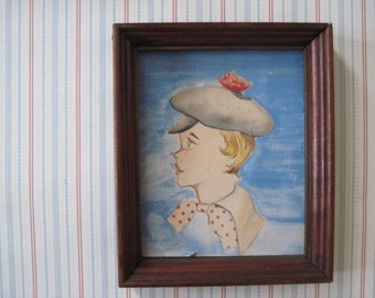 freckle face, vintage 1930-40s watercolor portraits - boy and girl, brother and sister, blue and red, polka dots - wooden frames