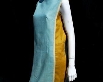 Vintage 60's junior sophisticates original color panel linen dress MOD space age modern mid century american design sM by thekaliman