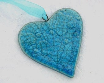 Ceramic Love Heart  Keepsake Hanging Decoration in Turquoise Raku