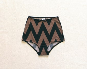 Chevron Print Brown and Black High Waist Panties Made to Order