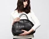 Leather Doctor Bag - OPELLE Botanist Bag - Large Black Pebbled Leather handbag