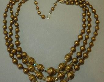 Vintage Golden Crystal Necklace