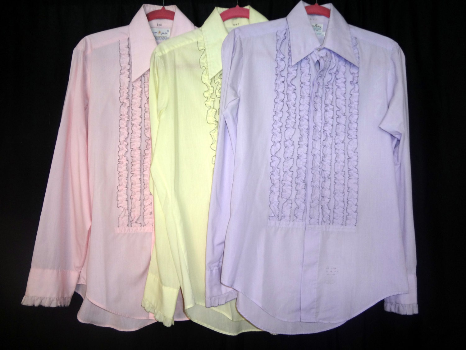 Mens 1970s vintage ruffle tuxedo shirts yellow pink for Red ruffled tuxedo shirt