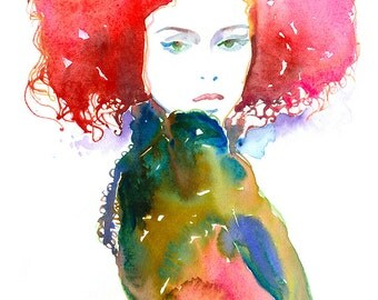 Fashion Ilustration Print,  Fashion Watercolor Illustration, Fashion Poster, Fashion Wall Art, Fashion Gift, Cheveux Rouge