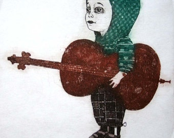 Etching / limited edition original etching (printmaking / graphic art) / original print / original art / cello etching - 'Boy with Cello'