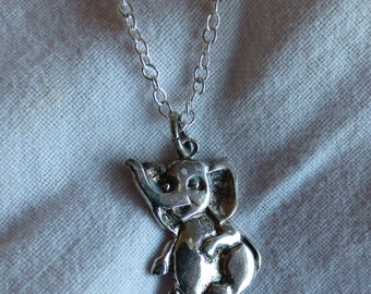 Baby Elephant Sterling Silver Pendant with Chain