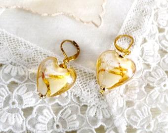 Vintage Golden Swirl Venetian Murano Glass Heart Earrings