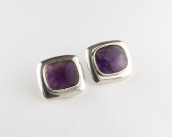 Purple Soft Rectangle Amethyst Sterling Silver Earrings