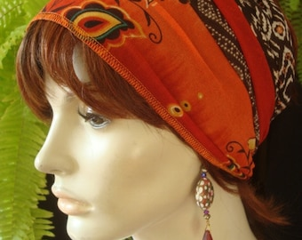 Womens Adult Extra Wide Headband Tube  Headwrap hair cover workout Band Tube  Bandana Rust / brown