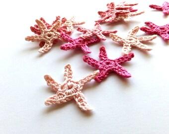 Crochet sea stars applique - pink sea stars embellishment - beach party decorations - beach wedding decor - small sea stars - set of 15