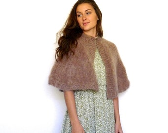 60s Neutral Taupe Fuzzy Mohair Capelet xs s m