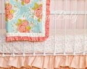 Peach Ruffle Crib Skirt