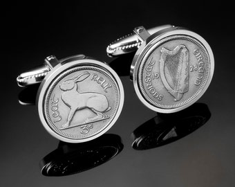 1928 Ireland threepence Cufflinks - First series of Irish coins ever made - Very rare - Limited edition - 100% Satisfaction