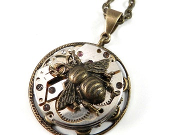 Steampunk Necklace, Clockwork Honey Bee Watch Movement Brass Lace Necklace, Steampunk Jewelry by compassrosedesign