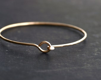 Hook Bangle Bracelet - Choose from Brass, 14kt Goldfill, (Yellow or Rose) or Sterling Silver - Made to order