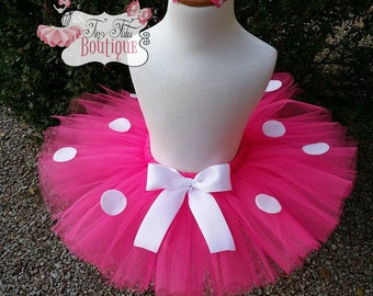 READY TO SHIP Pink Polka dot Minnie Mouse-  6-12months Tutu with hairbow