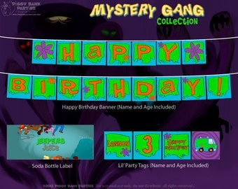 Mystery Gang Collection - DIY Printable Cartoon Detective Party Decorations // Birthday Decoration // 70s TV Show Decor