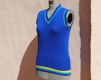 Vintage 1960's Cobalt Blue Striped Sweater Vest