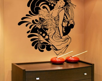 Vinyl Wall Decal Sticker Seductive Geisha 1365m