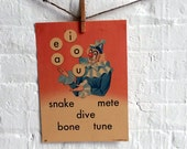 Vintage Large Flashcard Juggling Clown - Vowels AEIOU - Picture Flashcard Words