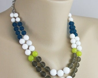 Modern Color Block Statement Necklace - Sea Glass Jade Stone Beaded Necklace - Matte Gray Bright Chartreuse Green White Teal