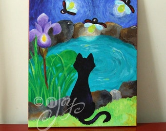 BLACK CAT and FIREFLIES, 16x20 Original Painting Acrylic on Canvas, Whimsical Cat Painting