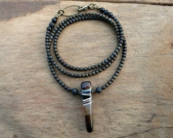 Tribal Sardonyx Spike Necklace, rustic Bohemian style jewelry with black white and brown striped stone pendant and seed beads