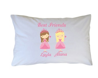 Personalized Best Friend Pillow Cases - Choose Princess - Pajama Party Girls - Glamour Girls - Travel - Standard - Toddler Sizes