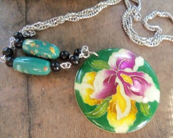 70s ENAMEL IRIS NECKLACE--Flower Disc--Silver Chain--Green Glass Beads--Nice and Long