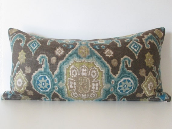 Decorative Pillow Cover 12x24 Brown Teal By Chicdecorpillows