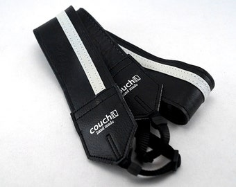 Black and White Racing Stripe Camera Strap- Vegan, Made in USA