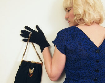 Vintage 1950s Handbag in Black Satin with Brass Hardware / 50s Pocketbook with Gold Chain Straps