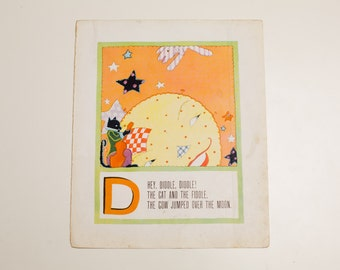 "Antique 1929 Letter ""D"" Monogram Mother Goose Book Page, Hey Diddle Diddle, 9.75""x11.75"""
