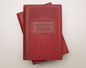 Effective Speech 6 Book Set, Complete Course, Dark Red, Vintage 30s