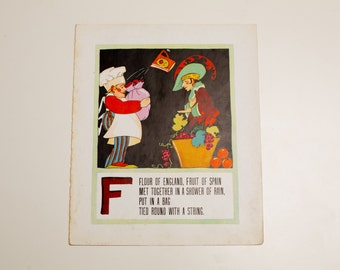 "Antique 1929 Letter ""F"" Monogram Mother Goose Book Page, Flour of England Fruit of Spain Riddle, 9.75""x11.75"""