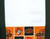 OSU Cowboys Hand Towel, Oklahoma State University Pistol Pete kitchen dish handmade white,  16 x 26