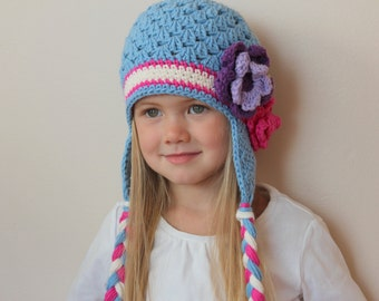Light blue earflap hat with flower for girl, any size, any color, cute baby hat