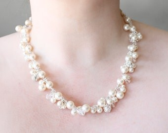 Pearl statement necklace, ivory or off white pearls, cluster, bridal jewelry - 'Cascade'