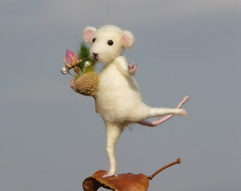 Needle felted waldorf inspired little romantic mouse on seed