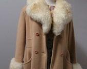 faux fur collar sleeve long maxi trench wool vintage 70s winter pea coat jacket - medium/large