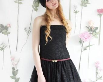 Nina, Vintage, Black Lace Mini Dress, from Paris