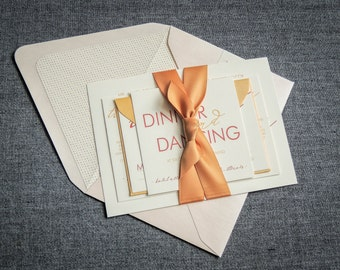 """Pink and Coral Invitations, Romantic Font Card, Blush and Gold Wedding Invitations, Cheap Invitation  Suite - """"Modern Calligraphy"""" FP-NL-v1"""