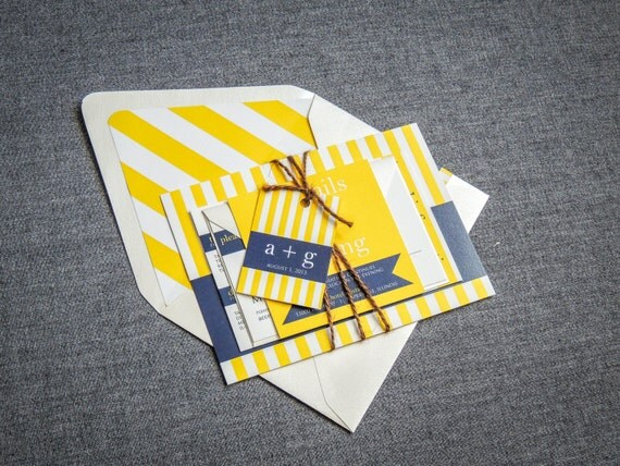 "Nautical Wedding Invitations, Invitations with Stripes, Destination Wedding Invites, Navy and Yellow Invitation - ""Preppy Chic"" FP-NL-v3"