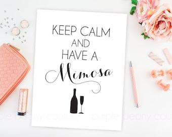 Mimosa Bar Sign Bridal Shower Decoration Brunch Keep Calm Printable Poster Wedding Champagne Digital INSTANT DOWNLOAD